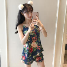 Farfi Fashion Flower Floral Pattern Sleeveless Top Shorts Women Sleepwear Pajamas Set