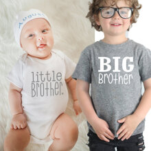[COZIME] Baby Boys Girls T-shirt Solid Big Brother Printed Short Sleeve Pullover Tops Grey1  M