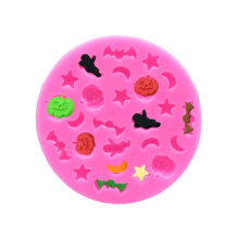 [COZIME] DIY Mould Halloween Pumpkin Star Moon Bat Silicone Mould pink