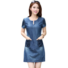 Jantens High quality summer loose fashion casual mini jeans dress