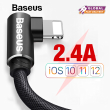 Baseus 1M Kabel USB For iPhone X Xs Max XR 8 7 6s Plus Handphone HP 2.4A Fast Charging Cable MVP Elbow USB Charger Cable - Hitam 1 m