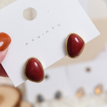 YOOHUI New European and American exaggerated retro style red alloy earringsearring Red