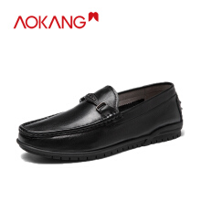 AOKANG 2019 Men loafers Shoes genuine leather casual men shoes chain decoration