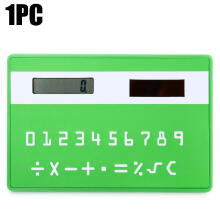 Shengmeiid 1PC Mini Slim Credit Card Pattern Solar Power Pocket Calculator GREEN