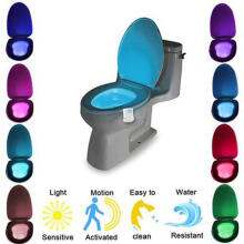 Farfi 8 Colors Change Motion Activated Home Toilet Bowl Bathroom LED Night Light Lamp as the pictures