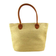 [LESHP]Straw Beach Bag Large Capacity Handmade Shoulder Crochet Rattan Handbag White