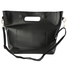 [LESHP]Pure Color Women Single Shoulder Bag Tote Handbag For Beach Shopping Black