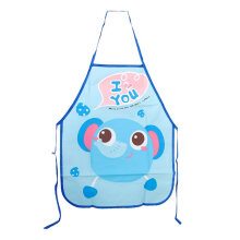 [COZIME] Kids Chef Apron Sets Child Cooking Painting Waterproof Children Gowns Bibs Blue elephant