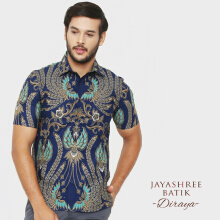 JAYASHREE BATIK Slim Fit Short Sleeve Diraya - Navy
