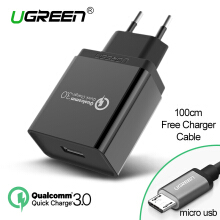 UGREEN QC3.0 Charger Quick Charge 3.0 Charger for Xiaomi Redmi Samsung LG VIVO, OPPO Handphone HP 18W Fast Charger Black + Free 1 Meter Micro USB Charging Cable