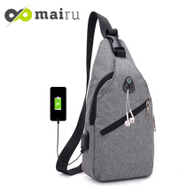 Mairu U-USB Simplicity Tas Selempang Sling Bag Anti Maling Cross Body Anti Air With Headset and USB Port Charger Support