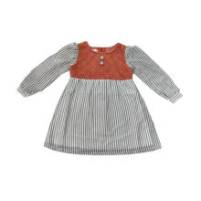Tiny Button Garis Brukat Dress Anak - Abu Merah 1-2 tahun Others