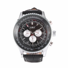 Jaragar Multifunctional Men Watch Automatic Stainless Steel Case Date Clock Black