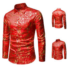 Farfi Autumn Winter Christmas Pattern Men's Turn-Down Collar Long Sleeve Shirt Top