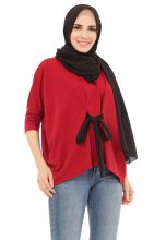 Mybamus Qhathanisa Oversize Top Maroon Black M14053C R43S1 All Size