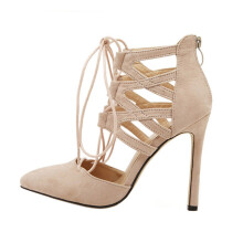 BESSKY Women Ladies High Block Heels Ankle Strappy Lace-UP Sandals Party Sandals Shoes_