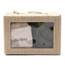 Cribcot Gift Set Booties Plain Army Green & Mitten Baby Boy Milk Choco Army Green