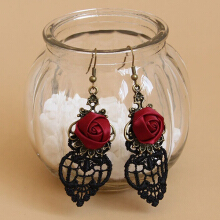 Farfi 1 Pair Vintage Gothic Vampire Halloween Black Lace Red Flowers Dangle Earrings