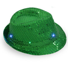 Fashionable Man Boy Woman Girl Sequins LED Light Hip Hop Jazz Hats Cap green