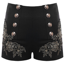 Fashionmall Embroidery Shorts with Button Embellished