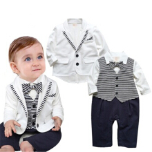 Baby costume, boys 'suit, gentleman suit, striped suit.