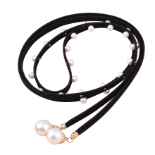 SiYing fashion Pearl decoration super long Korean cashmere ladies thin belt