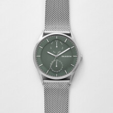Skagen Holst - Green Round Dial 40mm  - Stainless Steel - Silver Mesh - Jam Tangan Pria - SKW6383 - SL