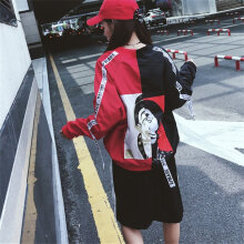 [COZIME] Girls Stitching Ribbon Jacket Long-sleeved Color Blocking Baseball Uniform Red&Black1  M