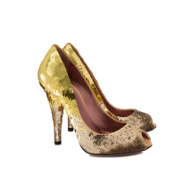 Pre-Owned Miu Miu Paillettes Peep Toe Pumps