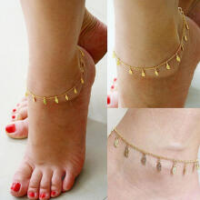 Farfi Sexy Simple Golden Tone Leaf Pendant Anklet Ankle Bracelet Chain Women Jewelry Golden
