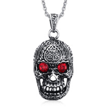 SESIBI Ruby Cubic Zirconia Skull Pendant Necklace Stainless Gothic Chain Red Gemstones Sweater Choker Jewelry