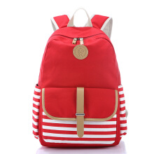 Keness Korean version of the navy wind canvas bag female backpack middle school student bag