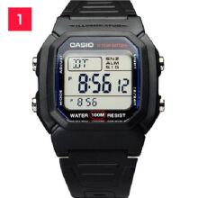 Casio W-800H-1A Sports waterproof electronic watch-Black