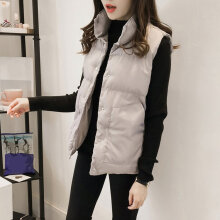 Female Winter Short Warm Cotton Vest Sleeveless Loose Waistcoat with Button gray S
