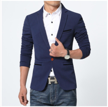 ESG Men Blazer Cotton Slim Fit High Quality Luxury Blazer Male 2018 Fashion Brand Blazer Men Suits Navy Blue L