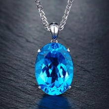 Farfi Simple Elegant Women Single Big Blue Rhinestone Pendant Necklace Chain Jewelry Blue