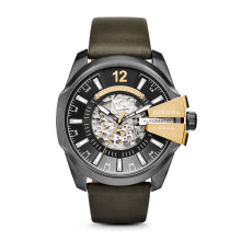 Diesel Advanced Mega Chief - Black Round Dial 51mm - Leather Strap - Black - Chronograph - Jam Tangan Pria - DZ4379 - SL