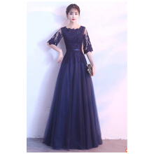 SHUMING-Dress Wedding dress Evening Dresses Blue S