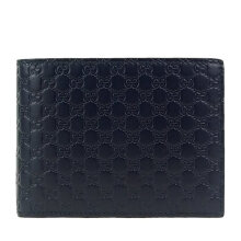 GUCCI Men's Dark Blue Signature Leather Wallet 333042 BMJ1N 4009 Navy Blue