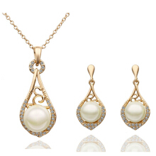 SESIBI 3pcs/lot Fashion Earrings Women Gold Simulated Pearl Harp Lute Pendant Necklace Earrings Jewelry Sets - Gold