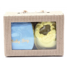 Cribcot Gift Set Booties Plain Baby Yellow & Mitten Baby Boy Baby Blue Light Yellow