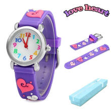 Keymao Love Waterproof 3D Cute Cartoon Silicone Wristwatches Gift for Little Girls Boy Kids Children Purple