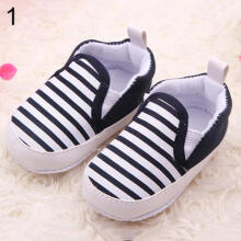 Farfi Toddler Baby Boy Shoes Crib Shoes Sole Striped Shoes Size 0-18 Month