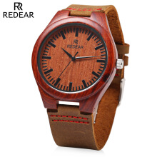 REDEAR SJ 1448 - 4 Quartz Men Watch Wooden Dial Leather Band 3ATM Wristwatch Red sandalwood