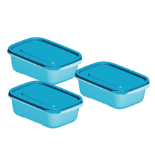 TECHNOPLAST Azumi Bento Sealware Medium 600ml Set of 3 - Biru