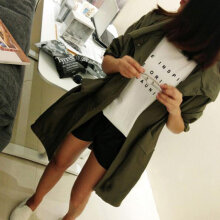 Harajuku BF Loose Thin Windbreaker Female Long Section Thin Coat Cardigan army green