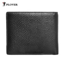 [LESHP]PLOVER GD5892-6AC Business Soft Cow Leather Man Short Wallet 3 Card Slot Black Black