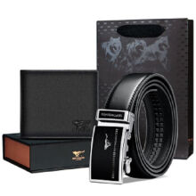 SEPTWOLVES L6527 gift pack Cowhide two fold horizontal wallet&Cowhide belt automatic buckle belt-Black