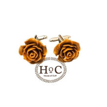 Houseofcuff  Cufflinks Manset Kancing Kemeja French Cuff  FLOWER WAX BROWN CUFFLINKS Brown