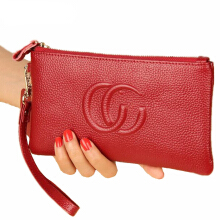 Jantens New women long clutch bag purse mobile phone purse zipper pocket Slim handbag Red